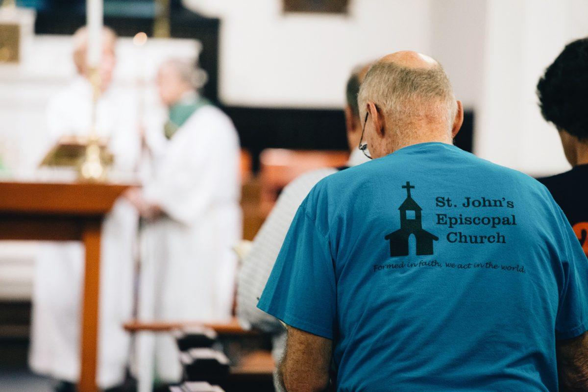 A congregation worships